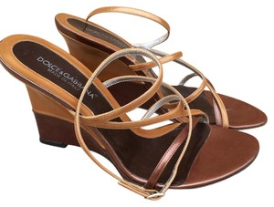 Dolce&Gabbana Two Tone Leather Strappy Wedge Patent Brown Sandals