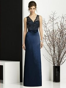 After Six Midnight with Black Lace Satin 6675 Feminine Bridesmaid/Mob Dress Size 12 (L)