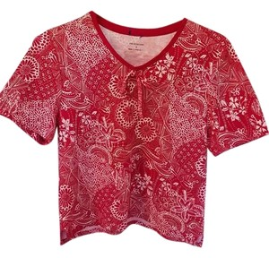 Croft & Barrow Top Red/white/taupe