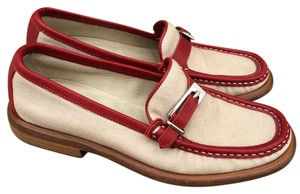 Joan & David Canvas Buckle Leather Classic Beige & Red Flats