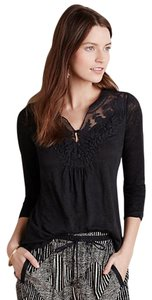 Anthropologie Lace Tee Anthro Lace Anthro Tee Crochet Top Black