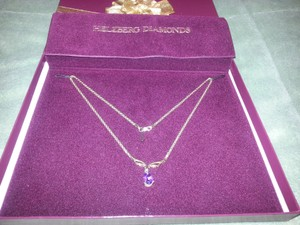 Helzberg Diamonds 14K Gold chain with Amethyst Pendant