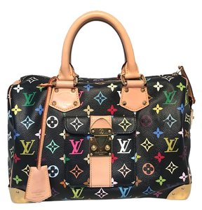 Louis Vuitton Monogram Canvas Murkami Speedy Speedy Rare Satchel in black