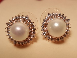 Bridal Pearl Earrings Gold Plated Cz Pierced