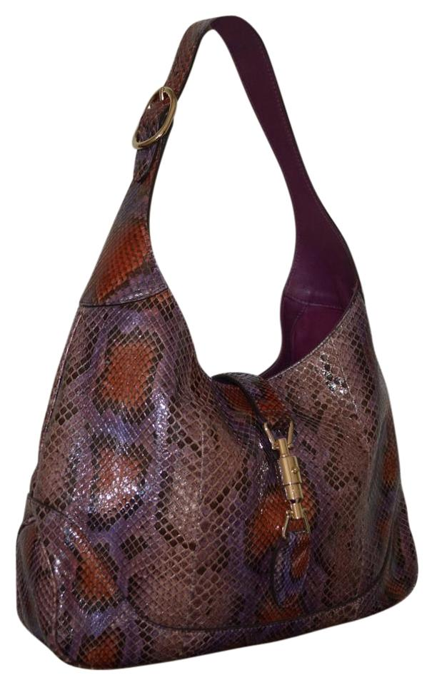 b703a8522 Gucci Tote Jackie Womens Purse Burgundy Python Leather Hobo Bag ...