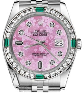 Rolex Women`s Rolex 31mm Datejust Pink Flower MOP Dial 8+2 Dial Emerald