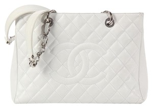 Chanel White Caviar Leather Tote