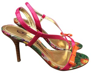 Beverly Feldman Multicolor Strappy Patent Orange Pink Sandals