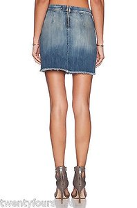 Current/Elliott Jeans The Boxy Mini In Super Loved Denim Mini Skirt Blue