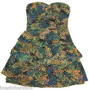 Twelfth St. by Cynthia Vincent Silk Tiered Floral Tube Mini Dress