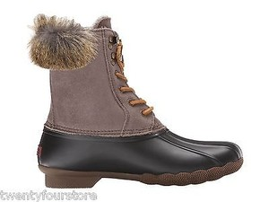Sperry Top Sider White Water Duck In Black Graphite W Faux Fur Gray Boots