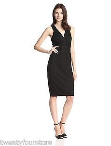 Bailey 44 Ellington In Halter V Cut Ponte Knit Rayon Dress