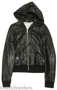 Mike & Chris Leather Hooded Bomber Jacket W Knit Detailing Coat
