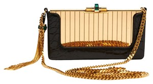 Gucci Garcon Evening Case Medium Gold, Black Clutch