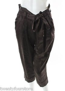 Robert Rodriguez Silk Slouchy Cropped Belted Birch Capri/Cropped Pants Brown