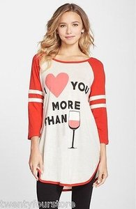 Wildfox Couture I Love You More Than Wine Nightshirt Shirt Exclusive T Shirt Beige