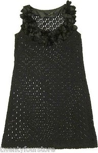 Cynthia Steffe short dress Black Crochet Knit Sweater Ruffle Neckline In on Tradesy