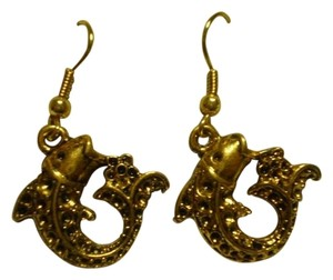 Handmade New goldtone fish earrings
