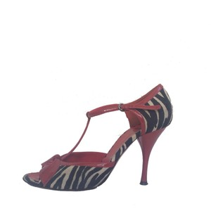 Moschino Leather Cheap And Chic Zebra Multi Animal Print Sandals