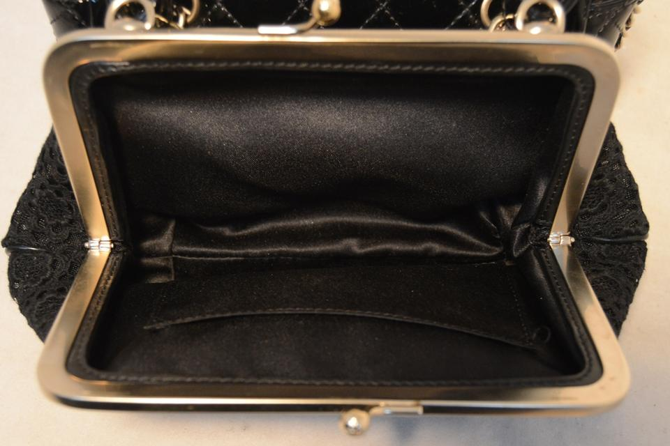 1089872ac92 Chanel Classic and Pouch Black Patent Leather Lace Shoulder Bag ...