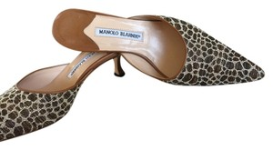 Manolo Blahnik Taupes, Brown & Cream Animal print Mules