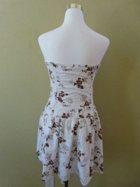 Guess short dress White & Brown Floral Eyelet Lace Strapless Sundress on Tradesy