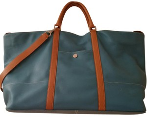Talbots Leather Tote in Turquoise and Tan