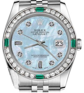 Rolex Rolex 36mm Datejust Baby Blue MOP 8+2 Diamond Dial Emerald Watch