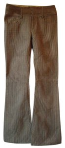 Alice + Olivia Cotton Blend Striped Tan Flare Pants