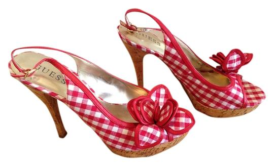 Guess Red and White Pumps