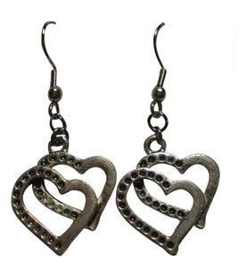 Handmade New Gunmetal double heart earrings