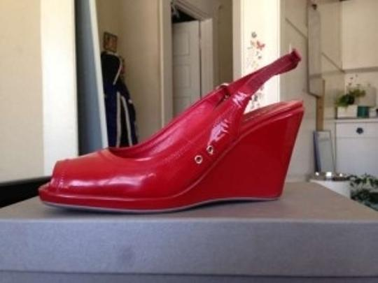 Prada Leather Patent red Wedges