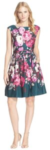 Eliza J short dress Green Pink Floral Eliza Wedding Guest Summer Fit & Flare Date Night on Tradesy