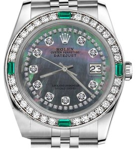 Rolex Rolex 36mm Datejust Black MOP Emerald String Diamond Watch