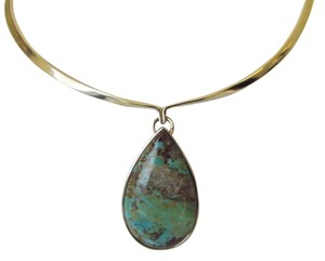 Studio Barse Studio Barse Bronze Collar Green Kingman Turquoise Drop Necklace fits up to 18