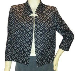 Pinko Short 3/4 Sleeve 3/4 Sleeve Jacket Jacquard Jacket Short Jacket black and gray Blazer