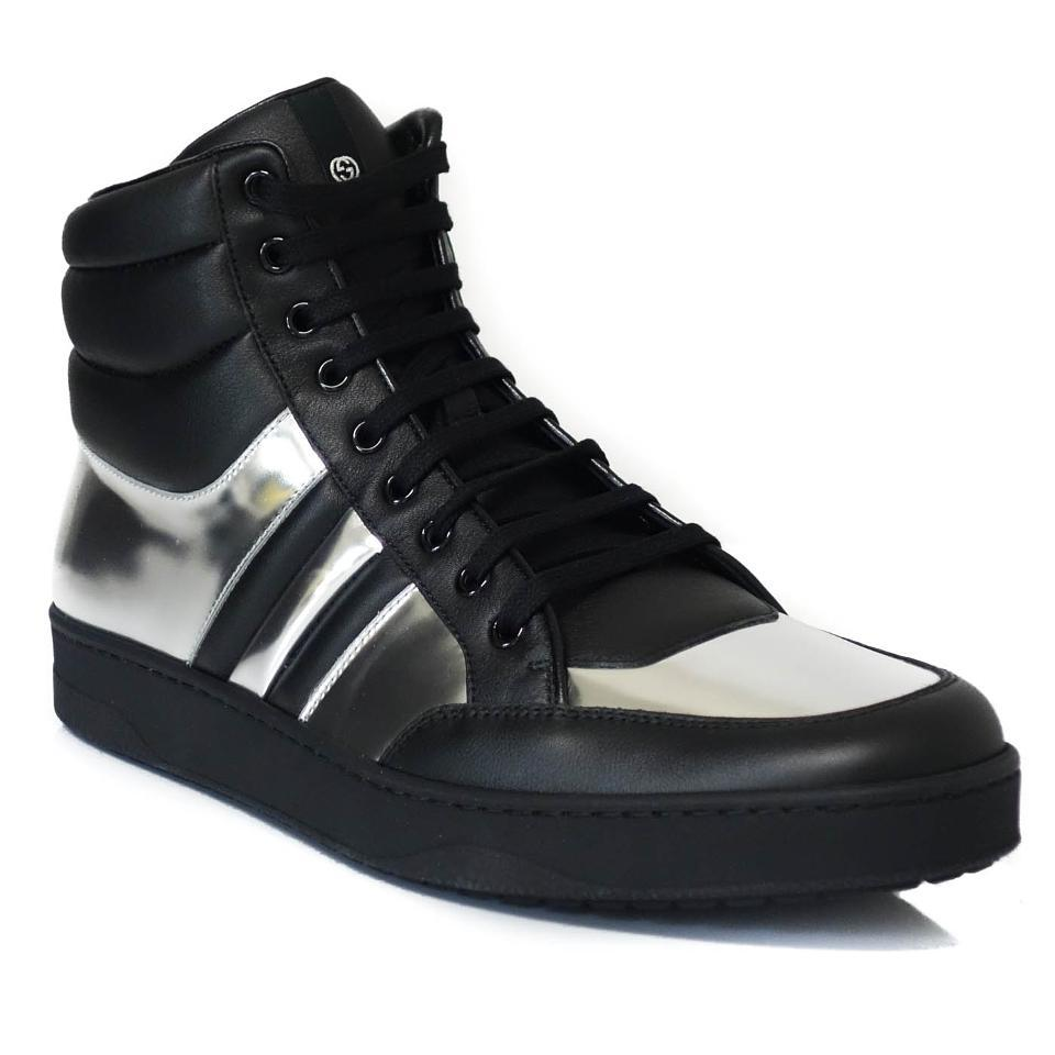 2ffa4e9f4 Gucci Black Silver 368494 Men s Contrast Padded Leather High-top ...