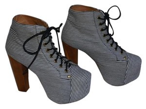Jeffrey Campbell Striped Platform Wooden Heel white/blue Boots