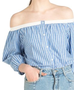 Pixie Market Button Down Shirt Blue and white