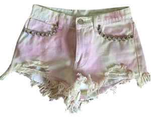 UNIF Studded Cutoff Cut Off Shorts Pale Pink/Yellow Tie Dye