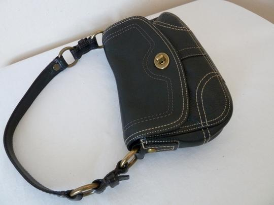 Coach Pebbled Leather Satchel in Black