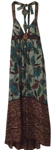 Blue brown Maxi Dress by Lyndia Procanik