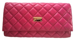 St. John Quilted Leather Purse Magenta Pink Clutch