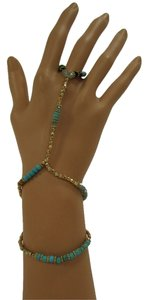 Women Fashion Bracelet Fashion Bohemian Hand Chain Slave Ring Gold Turquoise Beads
