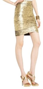 BCBGMAXAZRIA Holiday Date Night Night Out Classic Mini Skirt Gold