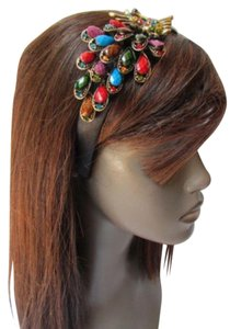 Women Fashion Black Headband Big Peacock Multicolor Hair Accessory