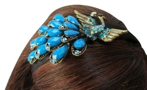 Women Fashion Black Headband Big Peacock Blue Hair Accessory