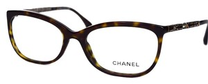 Chanel Chanel Tortoise with Antique Gold Crystal Accents Eyeglasses