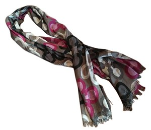 Coach Coach Signature Optic Scarf Wrap Black Charcoal Purple Magenta