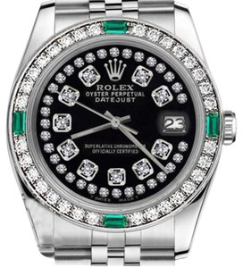 Rolex Women's Rolex 31mm Datejust Glossy Black String Diamond